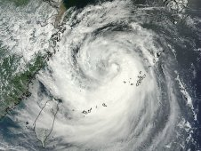 MODIS captured this visible image on August 6, 2012 of Tropical Storm Haikui as it nears landfall in China.