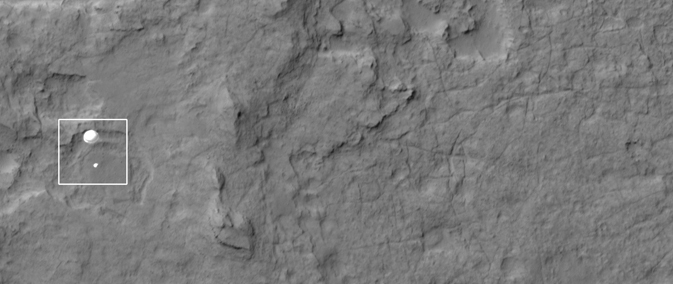 HIRISE image of Curiosity on a parachute