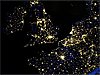Night view of London and surrounding areas as seen from space