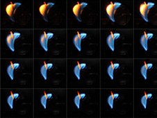 This image sequences a wake-stabilized flame burning a 2-centimeter-diameter acrylic sphere. Images are taken every second-and-a-half from left to right, then top to bottom. Maximum nitrogen flow nearly extinguishes the flame, but it is able to survive and even strengthen. When the nitrogen is turned off, the flame becomes significantly stronger, and only goes out when the air flow is shut off. (NASA)