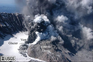 Photograph taken on October 1, 2004 of renewed volcanic activity within the crater formed by the eruption of Mount St. Helens in 1980.