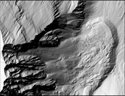 Still from animation shows topographic changes in the northwest part of the crater, depicting a rock glacier moving downslope to the northeast.
