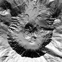 Still from animation showing two images that were produced from the LIDAR data taken September, 2003 and October 4, 2004