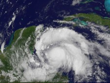 Tropical Storm Ernesto on August 7, 2012 as it was approaching Belize and Mexico's Yucatan Peninsula.
