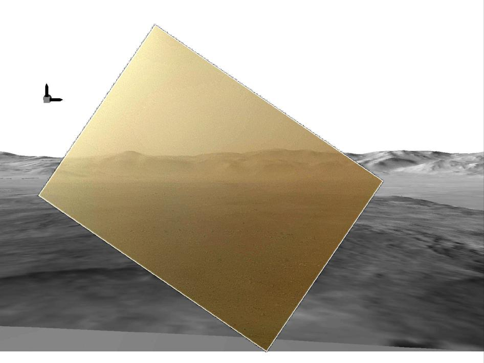 This picture of the Martian landing site of NASA's Curiosity rover puts a color view obtained by the rover in the context of a computer simulation derived from images acquired from orbiting spacecraft.