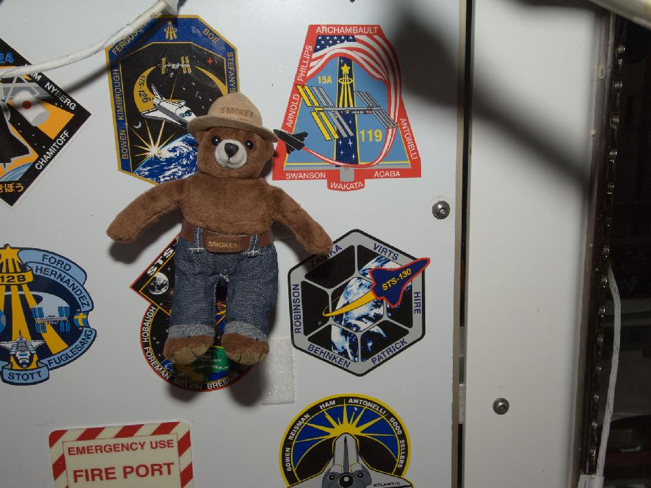 Smokey Bear floats freely near crew insignias