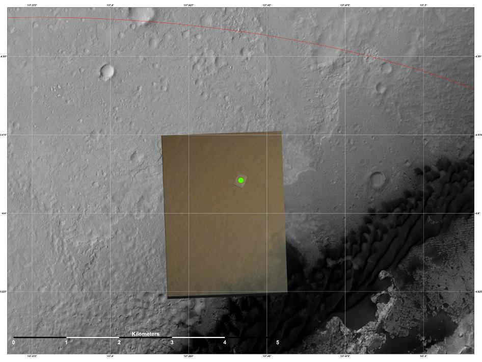 The location (green) where scientists estimate NASA's Curiosity rover landed on Mars within Gale Crater