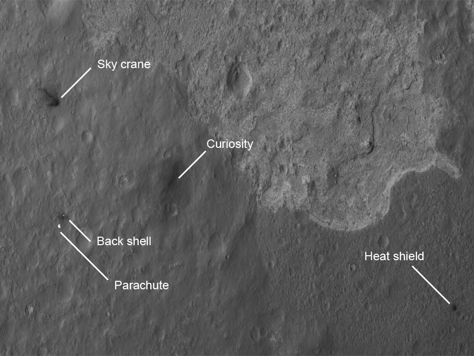 The four main pieces of hardware that arrived on Mars with NASA's Curiosity rover were spotted by NASA's Mars Reconnaissance Orbiter (MRO).