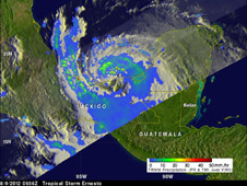 NASA's TRMM satellite saw tropical storm Ernesto on August 9, 2012 at 0656 UTC (2:36 a.m. EDT) after it moved from the Yucatan Peninsula into the Gulf of Mexico. Powerful convective thunderstorms were dropping rain at a rate greater than 50mm per hour (~2 inches) north of the storm's center.