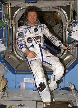 Padalka poses in Sokol suit aboard Station