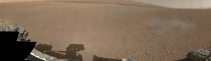 This is the first 360-degree panorama in color of the Gale Crater landing site
