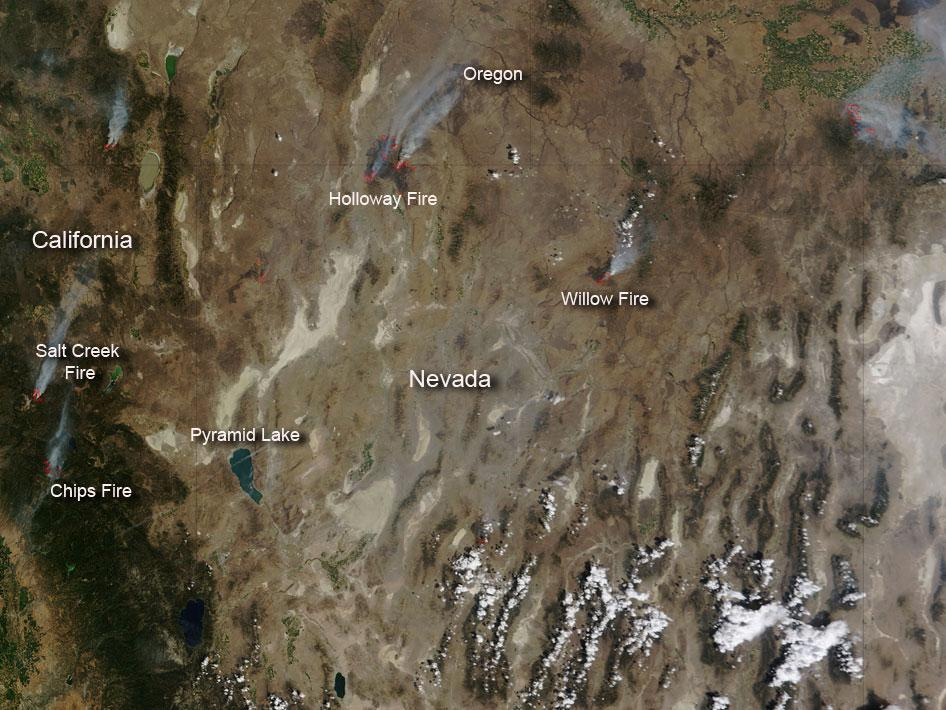 Fires in California and Nevada
