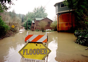 El Nino storms flood the Russian River in California in March, 1998.