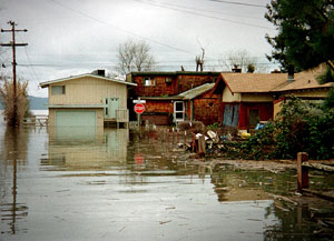 El Nino storms brought flooding to Clearlake, California on March 1, 1998