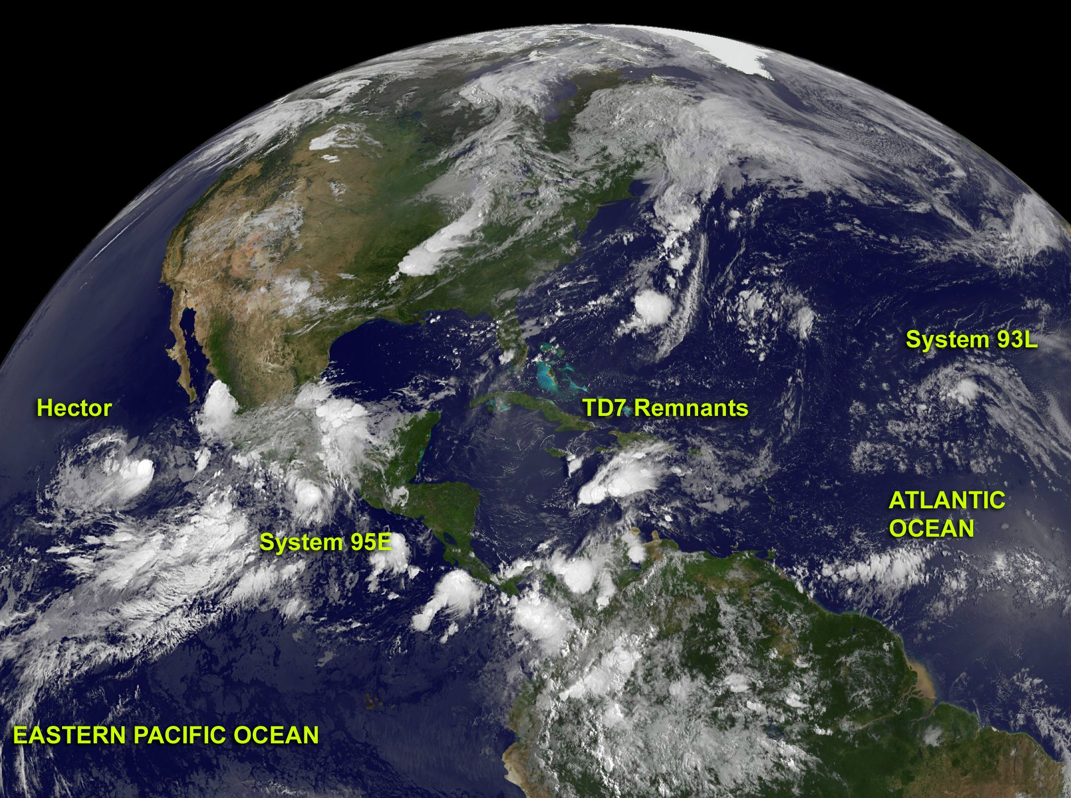 This Image Of The Atlantic Ocean And Eastern Pacific Ocean Was Created By Nasas Goes Project Using Noaa Goes  And Goes  Satellite Imagery On August