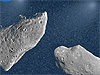 Drawing of two asteroids in space