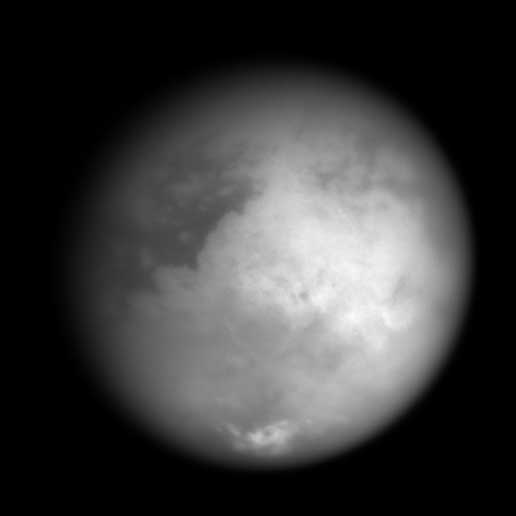 Cassini image of Titan, revealing the bright continent-sized terrain known as Xanadu