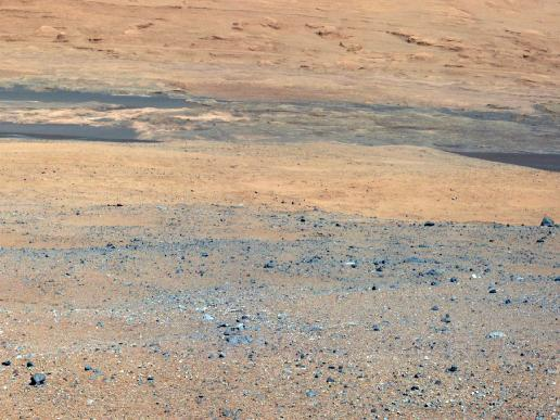 NASA's Curiosity rover looks south of the rover's landing site on Mars towards Mount Sharp