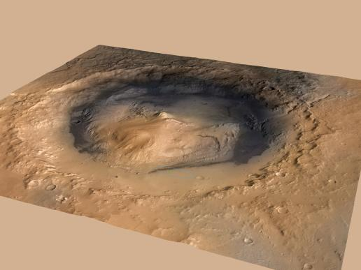 Oblique view of Gale, and Mount Sharp in the center, is derived from a combination of elevation and imaging data from three Mars orbiters