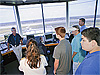 Students inside the air traffic control tower