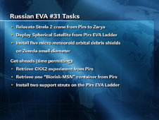 Russian EVA #31 Tasks