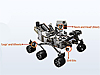 Curiosity rover with some parts labeled