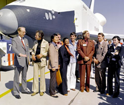 Star Trek cast with shuttle Enterprise