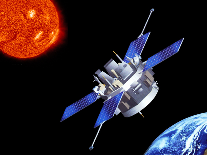 Artist's concept of ACE located between the sun and the Earth.