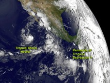 This GOES-13 image from August 15, 2012 shows Tropical Storm Hector and the remnants of Tropical Depression 7.