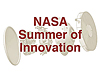 Words NASA Summer of Innovation superimposed over a rover preparing for landing