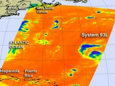 AIRS captured infrared data on System 93L when it passed overhead on August 15 at 0553 UTC