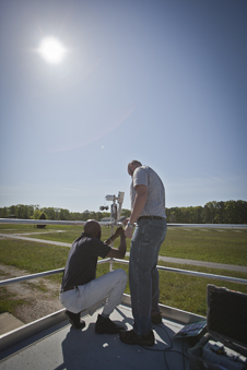 An Aeronet instrument being installed at NASA Langley's CAPABLE research site.