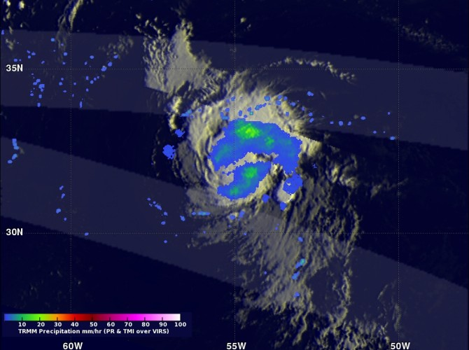 This image taken on August 16, 2012 shows NASA's TRMM satellite coverage of developing Tropical Storm Gordon