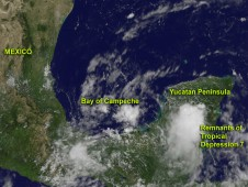 On August 16, GOES-13 shows Tropical Depression 7's remnants producing disorganized showers and thunderstorms
