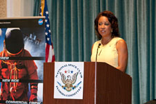 Florida's Lt. Gov. Jennifer Carroll speaks at the National Space Club Florida Committee's August luncheon.