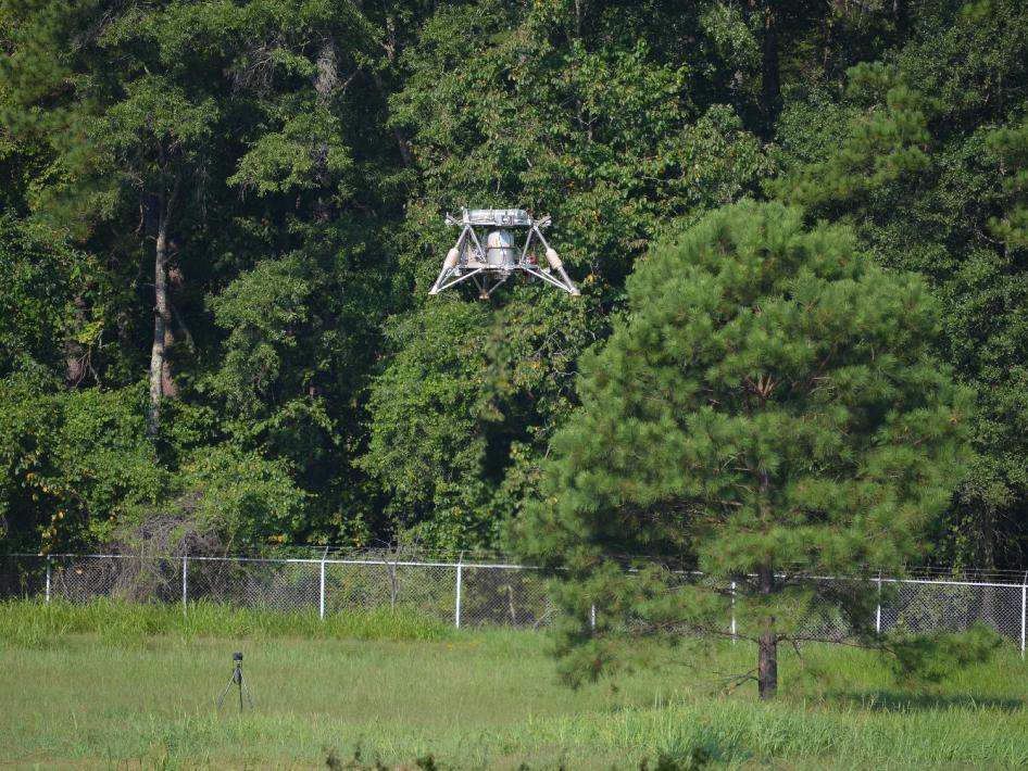 On Aug. 16, NASA's 'Mighty Eagle' robotic prototype lander successfully found its target during a 32-second, untethered test. The vehicle reached an altitude of 30 feet, where it identified an optical target painted on the ground about 21 feet away, and descended for a safe landing.