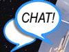 Web chat icon. An image of a thought bubble that says Chat!