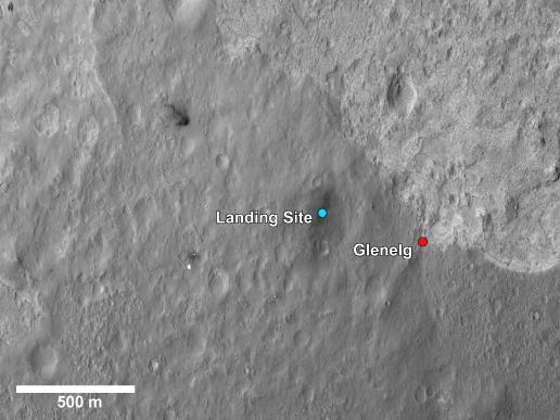 A closer view of the landing site of NASA's Curiosity rover and a destination nearby known as Glenelg