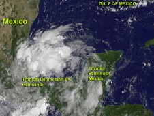 On August 17, 2012, NOAA's GOES-13 satellite captured visible images of Tropical Depression 7's remnants at 9:45 a.m. EDT.