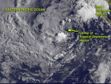 On August 17, 2012, NOAA's GOES-15 satellite captured visible images of Tropical Depression Hector's remnants at 10:45 a.m. EDT.