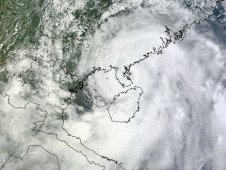 MODIS captured this image of Kai-tak's center crossing Leizhou, China on August 17, 2012 at 0340 UTC.