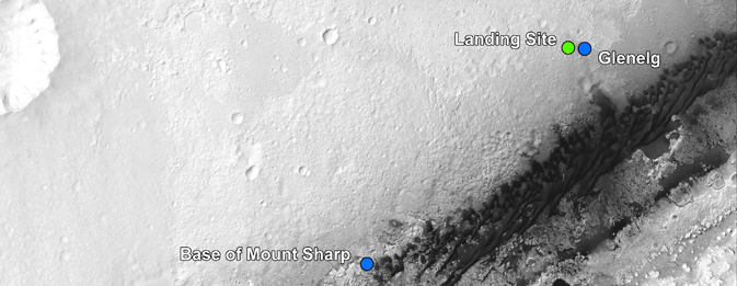 The landing site of NASA's Curiosity rover and destinations scientists want to investigate