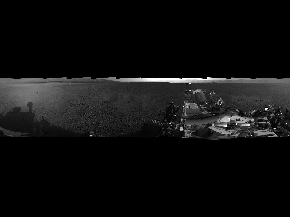 This 360-degree image shows a complete, full-resolution panorama around NASA's Curiosity rover
