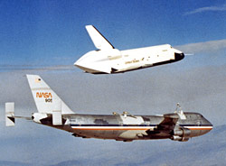 Shuttle prototype separates from 747 carrier.