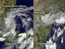 Tropical Storm Helene at its strongest over the Gulf of Mexico on August 17, and dissipating on August 19