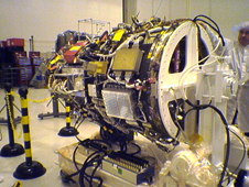 The DART spacecraft is readied for system level testing to ensure all spacecraft components and systems are ready for flight. The DART flight demonstrator is designed to demonstrate technologies required for a spacecraft to locate and rendezvous with other craft in space.