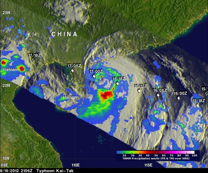 Typhoon Kai-Tak was seen by the TRMM satellite on August 16, 2012 at 2106 UTC when it was approaching southern China.