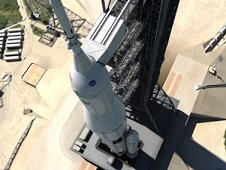 Artist concept of SLS on the launchpad.