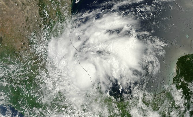 MODIS captured this stunning high-resolution visible image of Helene as it was making landfall in eastern Mexico on August 17