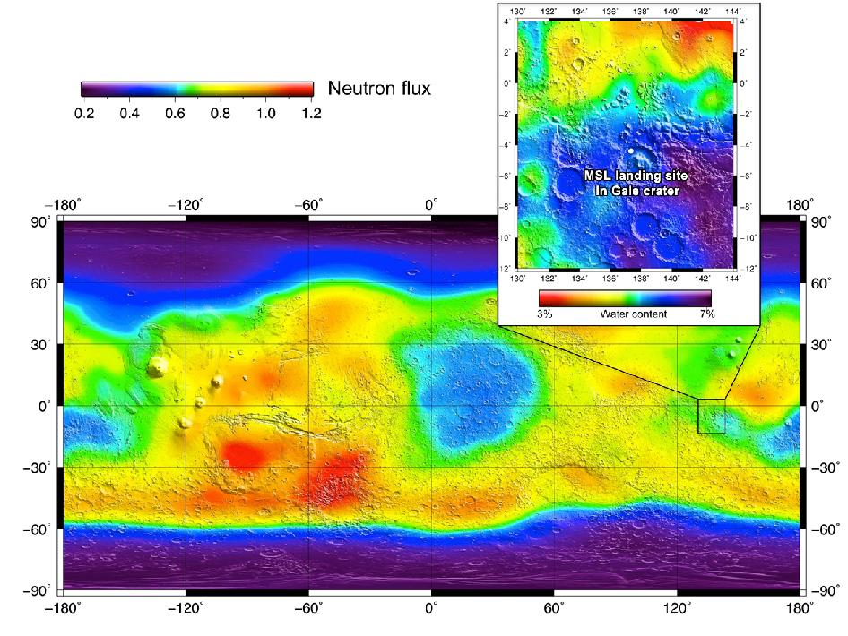 Map of landing site at Gale Crater
